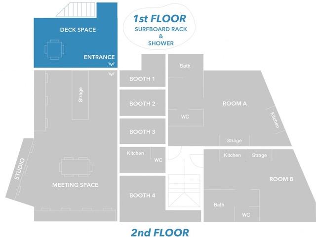 Satellite YUIGAHAMAのオフィスには好きな席に座れるSTUDIOと施錠できるBOOTHがある。屋外には日当たりの良いデッキやサーフボード置き場&外シャワーも。賃貸住居も併設。